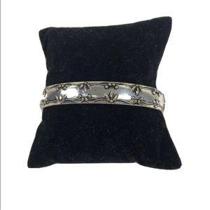 Vintage Avon Shiny Silver Cuff Bracelet Raised